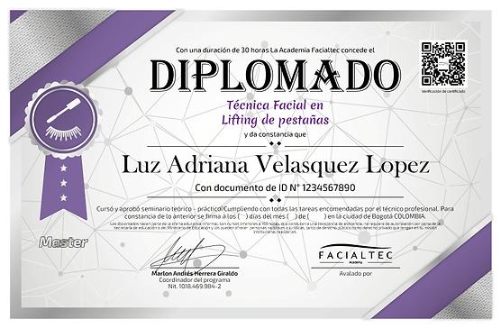 diploma lifting de pestañas facialtec academy