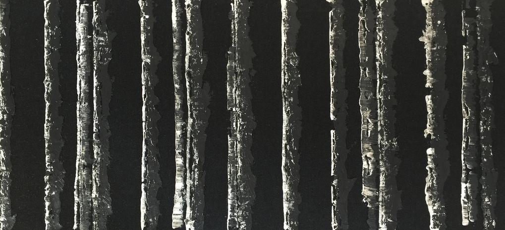 "MOONLIT BIRCH, 2015, Asphalt paper, caulking, and acrylic on panel, 32"" X 68"""