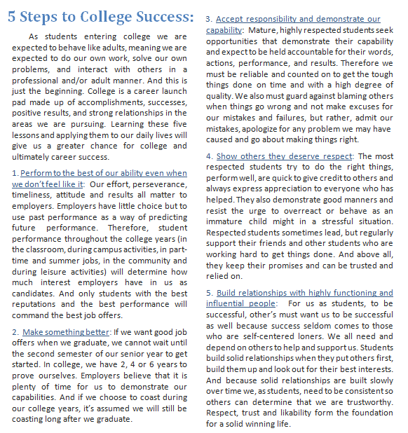 5 Steps to College Success