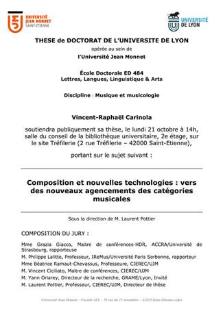 21 octobre 2019 - 14h - Soutenance de thèse de doctorat - UJM - Saint-Etienne