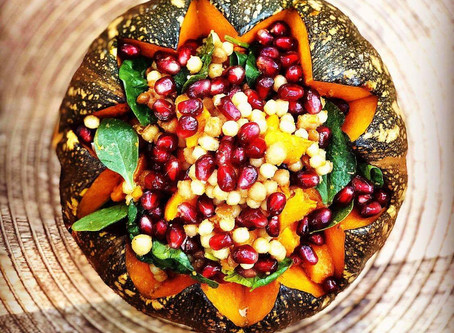 Stuffed Pumpkin With Pearl Couscous In Silky Walnut & Pomegranate Sauce