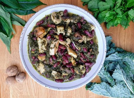 Ghormeh Sabzi w Exotic Mushrooms, Red Kidney Beans & Persian Lime