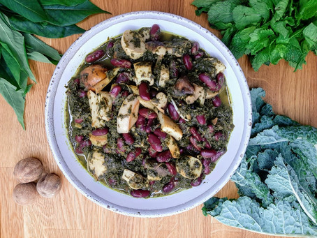 Ghormeh Sabzi w Exotic Mushrooms, Red Kidney Beans & Persian Lime