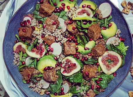 Tempeh, Quinoa Salad With Figs and Silky Walnut- Pomegranate Sauce
