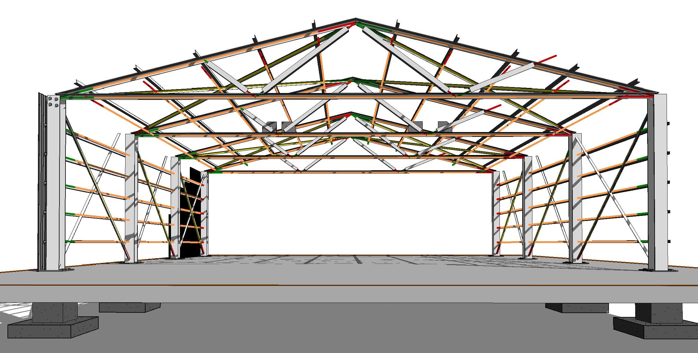 Proyecto Acero 01_Cerchas - Vista 3D - C