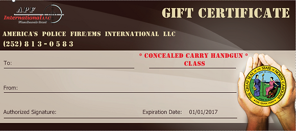 GIFT CERTIFICATE!  Concealed Carry Classes