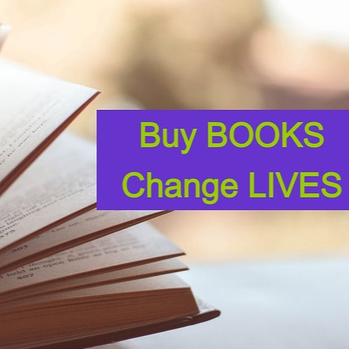 Open book with tagline buy books, change lives