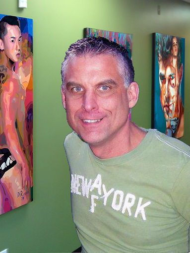 Artist Donald Rizzo, male nudes, male figurative art, erotic, acrylic paintings