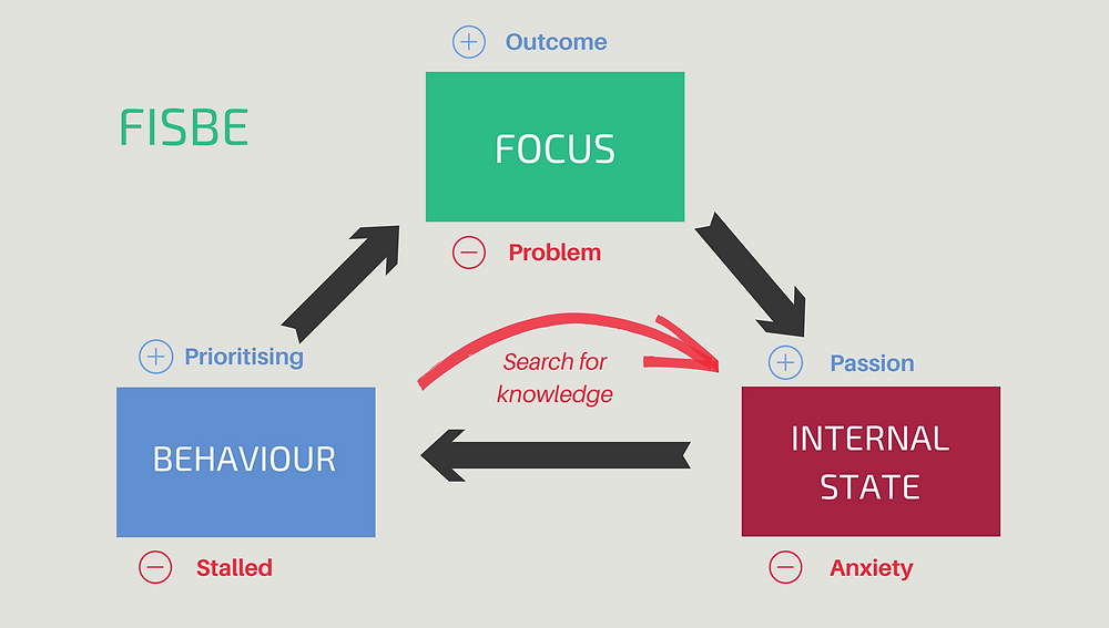 This image shows how focus, internal stage and behaviour combine to affect your outcomes.
