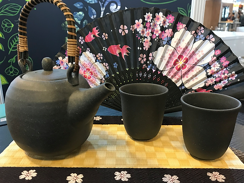 Modern Japanese Tea pot + 2 tea cups