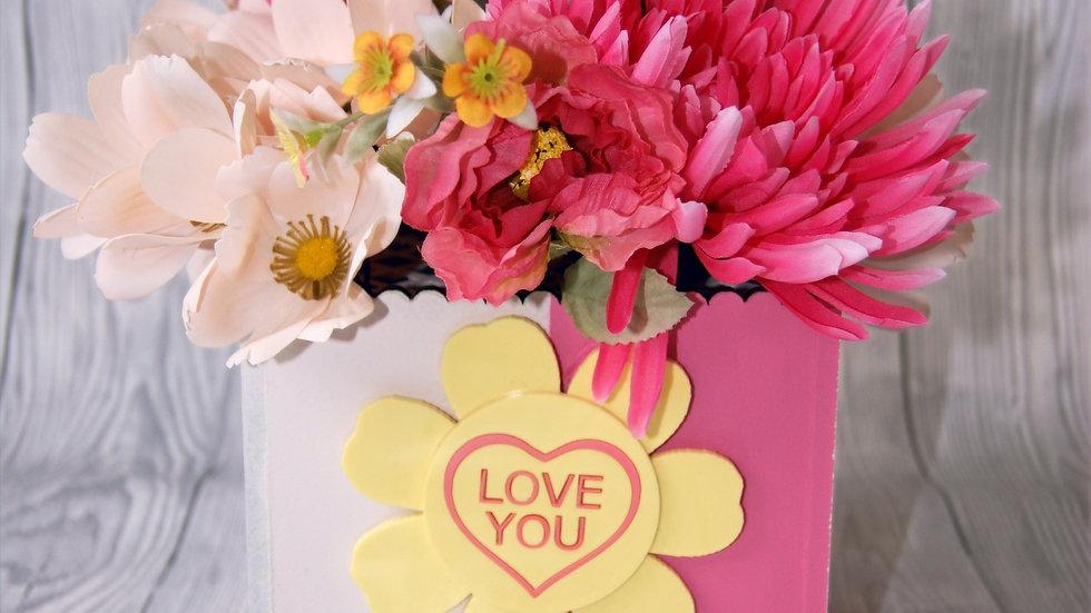 Bright pink flower box