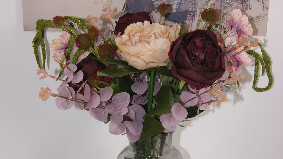 Champagne peony and mulberry vintage rose arrangement
