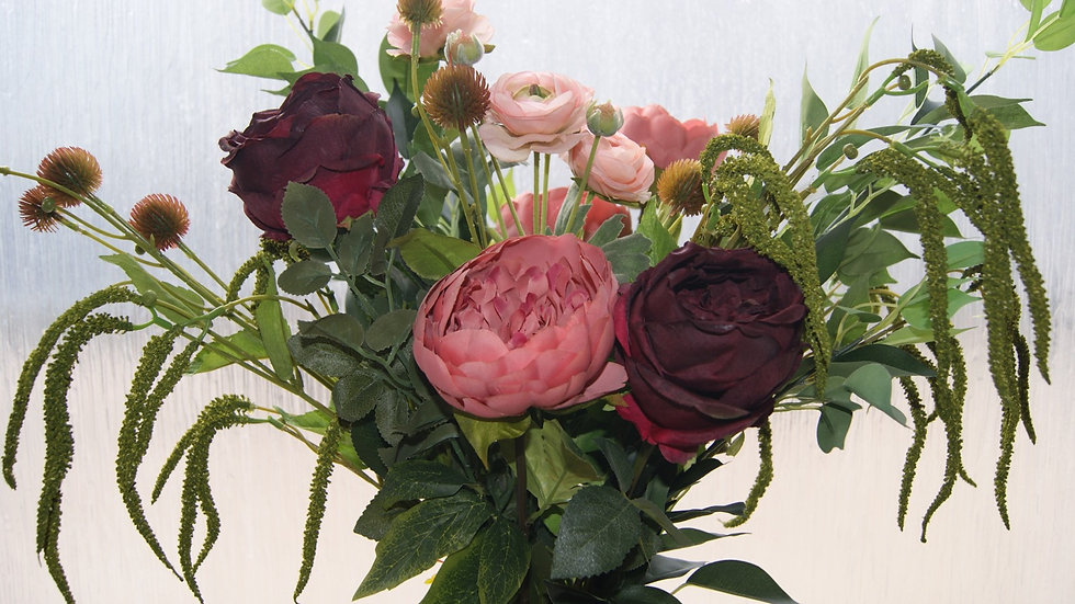 Peony and vintage rose faux flower arrangement