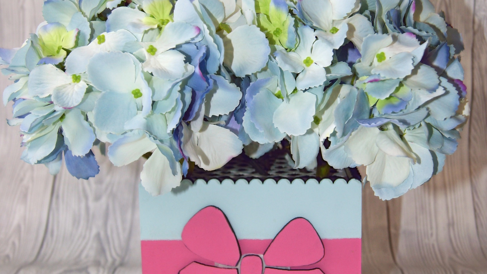 Blue and pink flower box