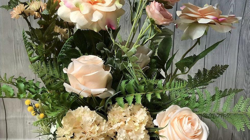 Cottage garden crate, peach faux flower arrangement