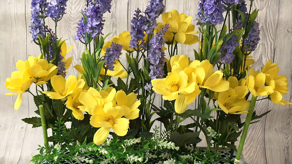 Yellow and blue flower box