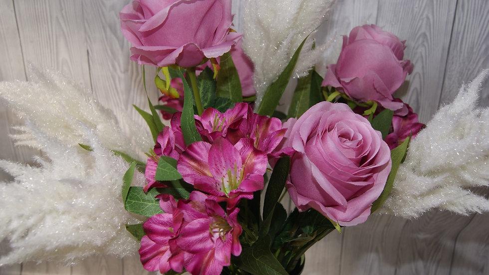 Rose, astilbe and alstroemeria arrangement