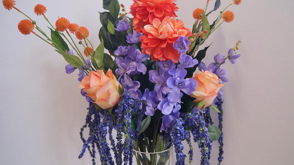 Freesia and chrysanthemum arrangement