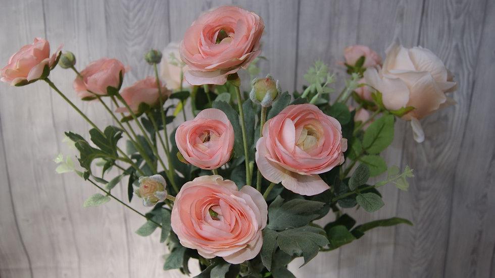 Ranunculus and rose faux flower arrangement