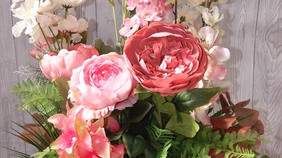 Cottage garden crate, pink flower arrangement