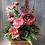 Thumbnail: Cottage garden crate, pink flower arrangement