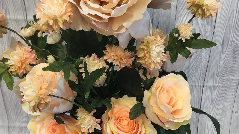 Apricot peony, rose and peach blossom