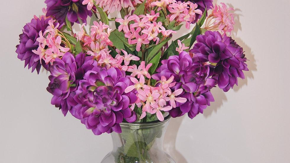 Pink and purple flower arrangement