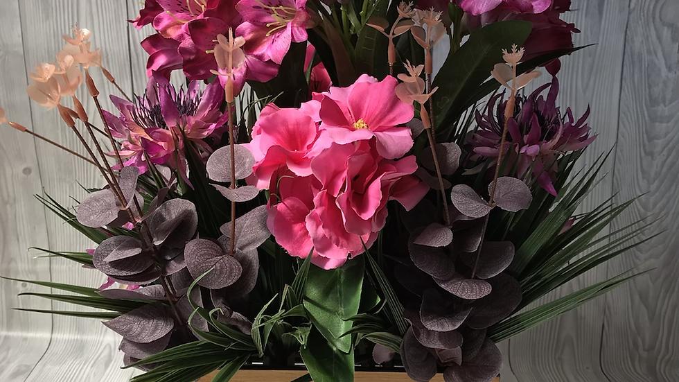 Cottage garden crate, purple faux flower arrangement