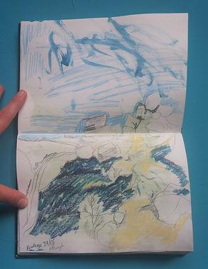 Sketchbook page of Burbage Edge, Peak Di