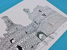 Dunstanburgh Castle Northumberland Illustration by Nicola Ellen Illustration 2019 Close Up