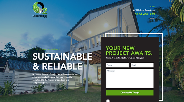 O2 Constructions WIX Website Design by Master Marketing