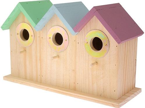 Wooden Triple Bird Box