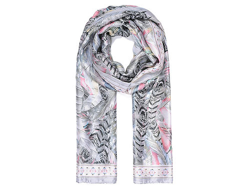 Grey silk like Feather Print Scarf