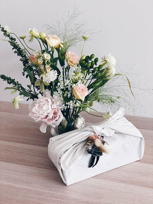 Florist's Pick Bouquet + Furoshiki Candle and Mood Booster Set