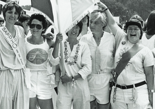 Black and white photo of lesbian women at a Sappho pride march in the 1980's