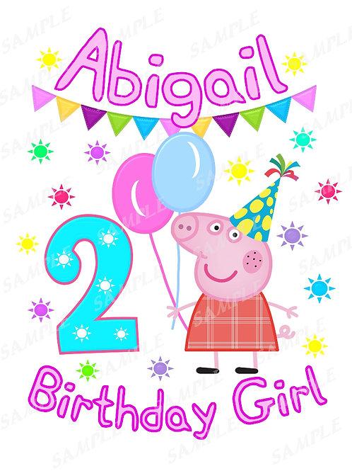 Peppa Pig Birthday Girl. Peppa Pig Iron on Transfer. Design #5