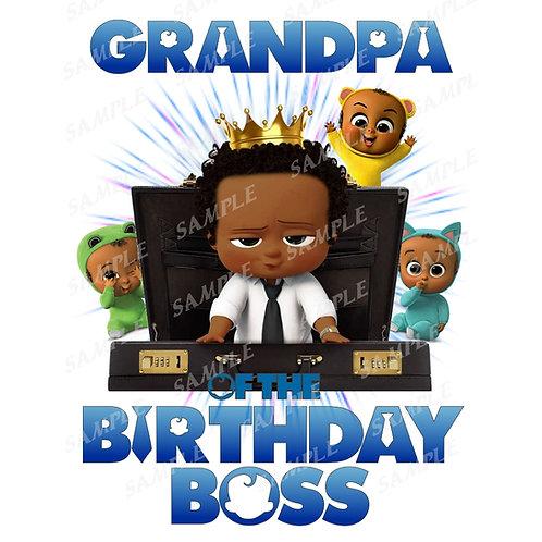 Boss Baby Birthday Shirt, Iron on. African American Boy. Grandpa