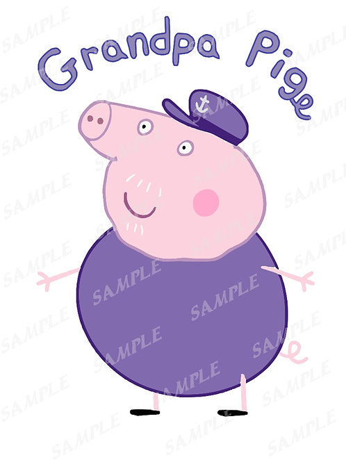 Peppa Pig birthday shirt, Iron on transfer. Grandpa Pig JPG printable