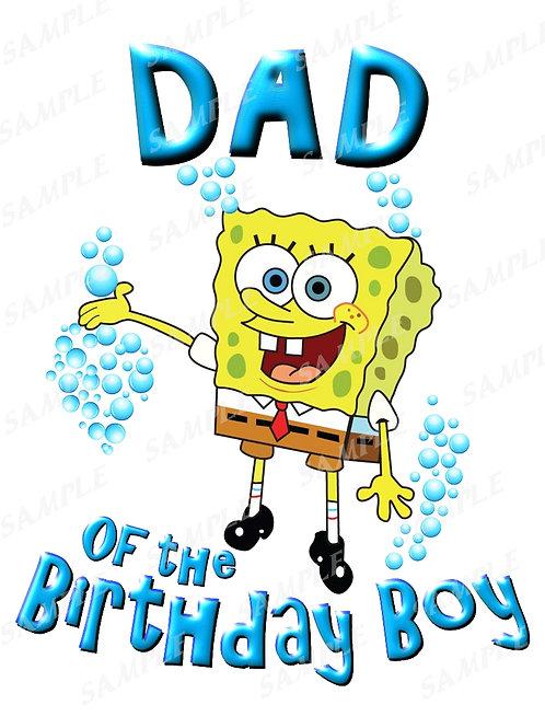 SpongeBob Birthday Shirt. SpongeBob Iron on Transfer. Dad Shirt