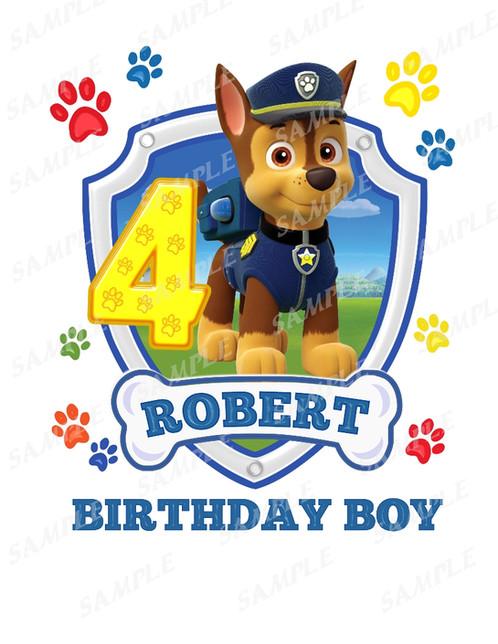paw patrol birthday shirts iron on chase birthday boy
