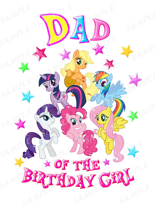 My Little Pony Birthday Shirt, Iron on Transfer. Printable Dad