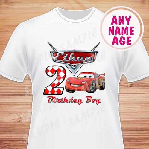 Disney Cars Birthday Shirt. Disney Cars Iron on. Birthday Boy shirt. 4