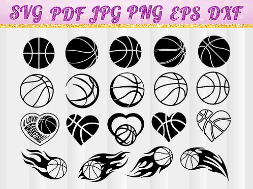 Basketball heart SVG, Cricut Files, Silhouette Files, Cameo, Vector, T-shirt, Iron On