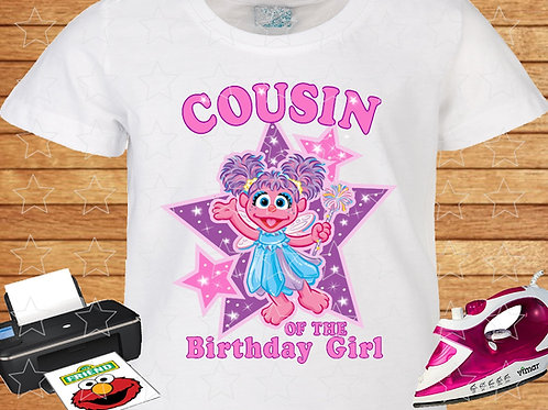 Sesame Street Abby Cadabby Birthday Shirt. Iron on Transfer. Cousin.