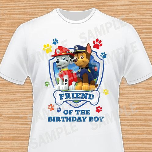 Paw Patrol Chase Marshall Birthday Shirt, Iron on transfer. Friend