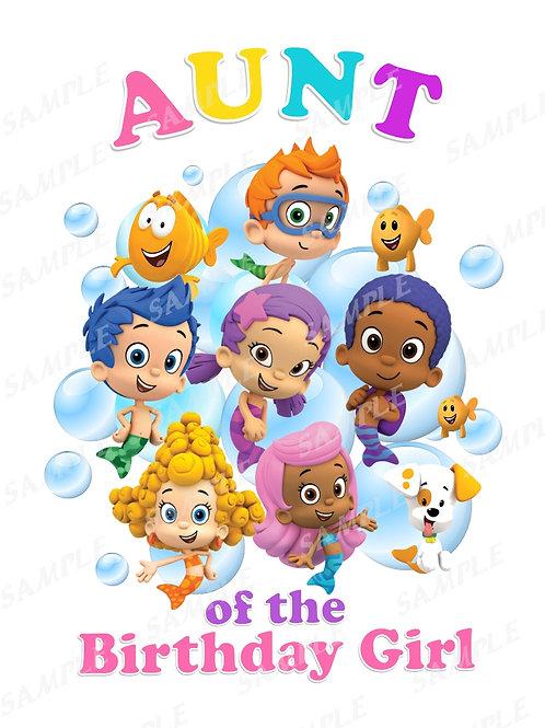 Bubble Guppies Birthday Shirt. Bubble Guppies Iron on Transfer. Aunt