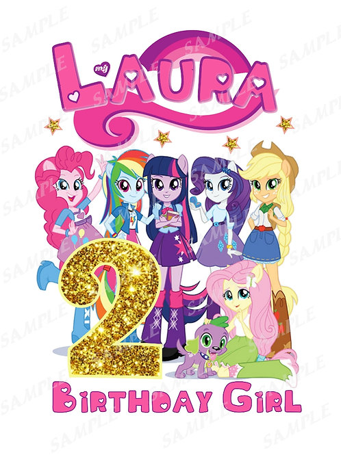 My Little Pony Birthday Girl, Iron on Transfer. Any name any age.