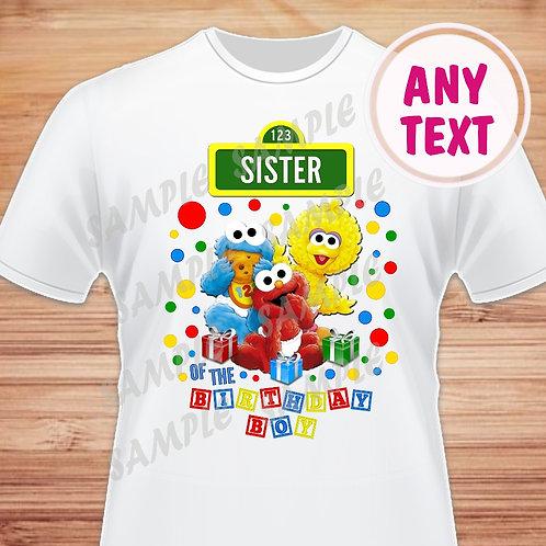 Sesame Street Birthday Shirt. Iron on Transfer. Sister of the Birthday Boy.