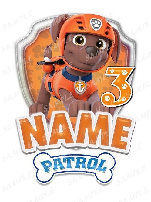 paw patrol zuma iron on transfer