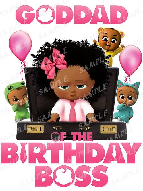 Boss Baby Birthday Shirt, Iron on. African American Girl. Goddad